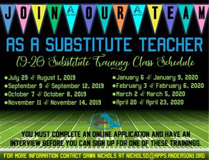 2019 - 2020 Substitute Training Classes
